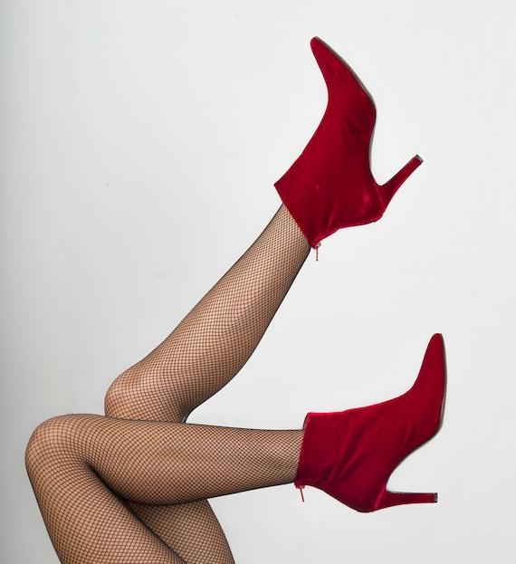 Vintage YVES SAINT LAURENT Red Velvet Ankle Boots