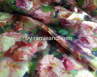 "Blooming roses-Digital Printing Silk fabric, 100% silk crepe satin fabric, floral print Silk Charmeuse Fabric, half yard by 44"" wide"