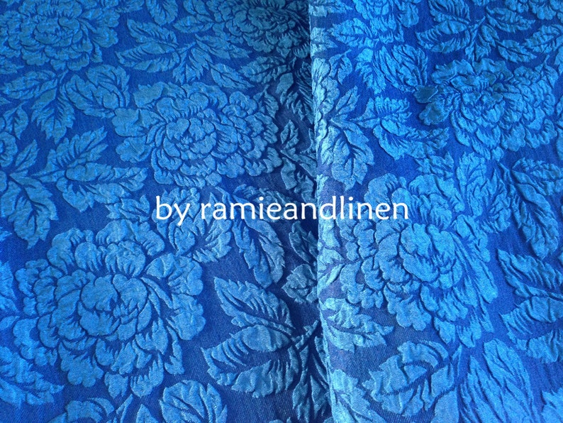 one yard by 44 wide Hard to find blue floral jacquard silk blend Guan Le Crepe fabric silk fabric