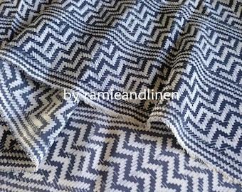 "Silk fabric, vintage zigzag print crepe de chine silk fabric, pure silk fabric, dress fabric, one yard by 45"" wide"