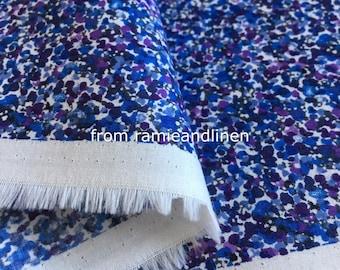 "japanese fabric, blue mini floal print fine cotton fabric, half yard by 44"" wide"
