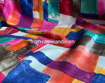 "silk fabric, silk cotton blend satin, brush painting print silk fabric, very soft, half yard by 55"" wide"