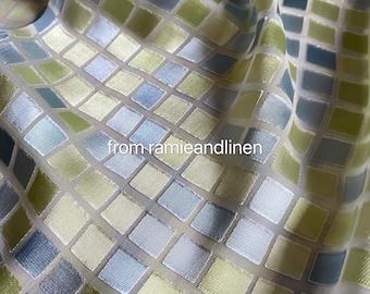 "silk fabric, mosaic pattern silk burnout fabric, half yard by 44"" wide"