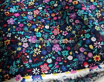 """Japanese cotton fabric, countryside colorful mini floral and leaves print elastic cotton fabric, 23"""" by 48"""" wide, last piece"""