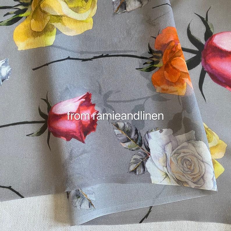 oversize roses of various colors print digital print half yard by 54 wide silk georgette fabric silk fabric