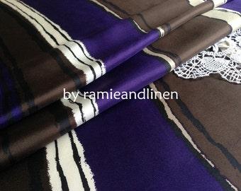 "Silk fabric, wide stripes print silk twill fabric, pure silk fabric, dress fabric, half yard by 44"" wide"
