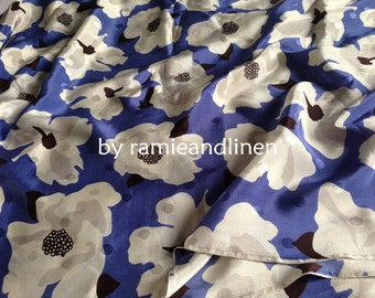 """Silk fabric, vintage style big floral print crepe de chine silk fabric, pure silk fabric, dress fabric, one yard by 45"""" wide"""