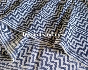 "Silk fabric, vintage zigzag print crepe de chine silk fabric, pure silk fabric, dress fabric, half yard by 45"" wide"