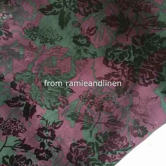Silk fabric one yard by 54 wide 20mm heavy digital printed floral scrolls paisley print jacquard silk fabric dress fabric