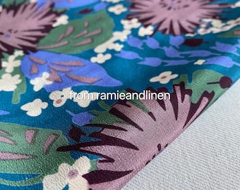 """Silk fabric, vintage style floral print silk crepe de chine mulberry silk fabric, half yard by 46"""" wide"""