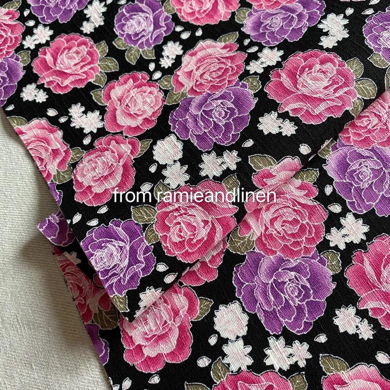 Japanese cotton fabric floral print slub texture cotton image 0
