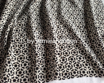 """Silk fabric, vintage stars print crepe de chine silk fabric, pure silk fabric, dress fabric,half yard by 44"""" wide"""