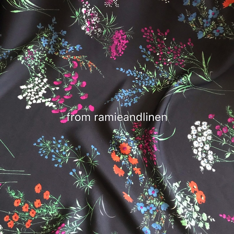 silk rayon blend fabric doublefancy crepe georgette last piece 54 by 54 wide blurry floral bouquet print drapes well