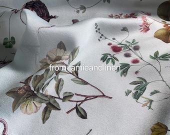 "silk fabric, digital print, lifes and plants drawing print, silk wool blend fabric, half yard by 55"" wide"