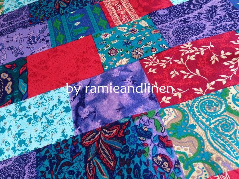 half yard by 35 wide patchwork print silk cotton blend twill fabric heavy silk Japanese silk fabric