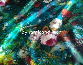 "pink peony, Digital Printing Silk fabric, 100% silk crepe satin fabric, floral print Silk Charmeuse Fabric, half yard by 55"" wide"