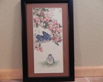 Baby Blue Jays Cross Stitch Framed
