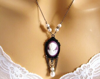 Goth Purple Cameo Necklace, Victorian Cameo Necklace Victorian Woman Magenta Cameo Necklace Pearl, Victorian Cameo Necklace Romantic Jewelry