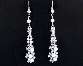 Long Bridal Earrings,Rhinestone Bridal Earrings,Rhinestone Pearl Earrings,Pearl Rhinestone Wedding Earrings,Bridal Long Rhinestone Earrings