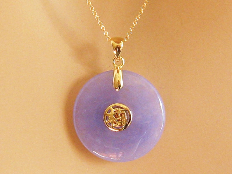 Purple Jade Necklace 14 Carat Gold Vermeil Good Luck Jade image 0