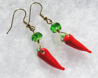 Red Lampwork Glass Earrings, Chili Pepper Earrings, Artisan Earrings, Lampwork Earrings, Gifts for Chefs, Foodies, Gifts for Her, Door Prize