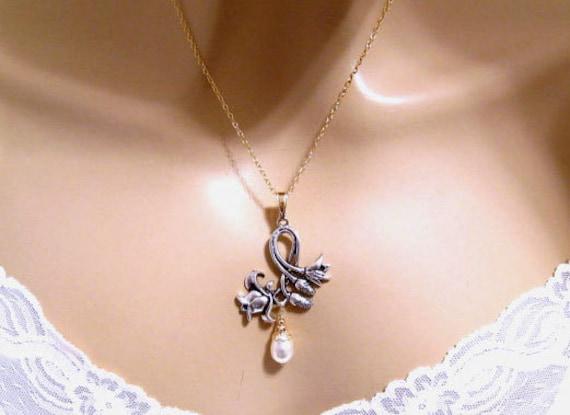 Art Nouveau Jewelry Bridal Wedding Jewelry Silver Gold Fill Art Nouveau Necklace Pearl Flower Necklace Romantic Bridesmaids Gift