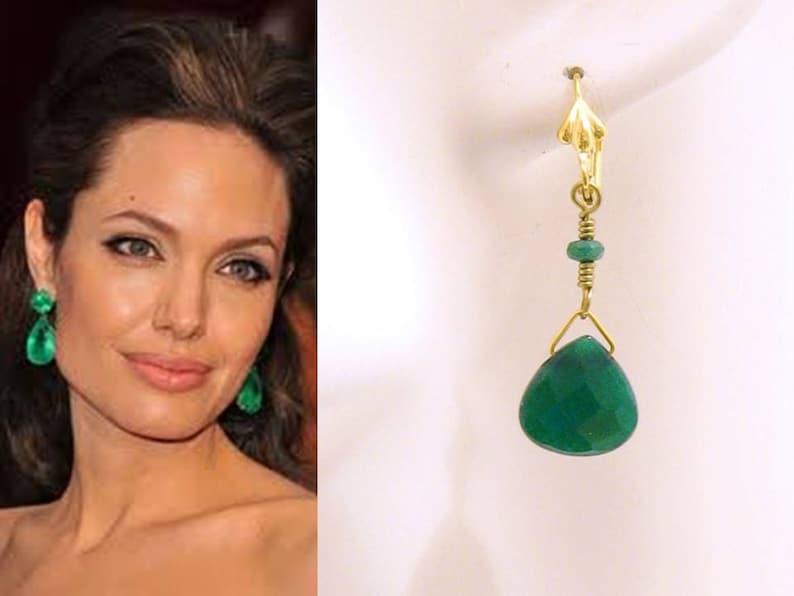 fc3d425f1 Emerald Green Earrings: Angelina Jolie Emerald Green Stone | Etsy