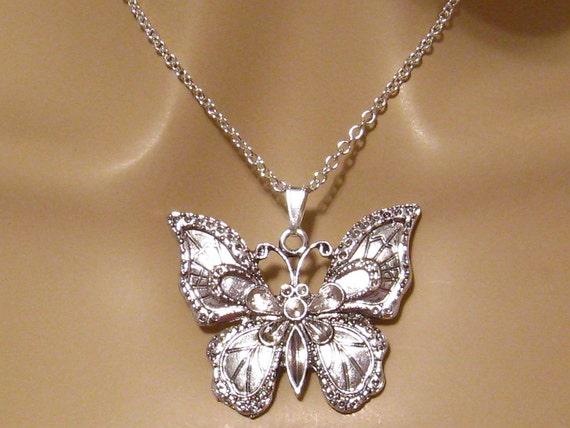 popul gerenommeerde site laatste mode Grote vlinder ketting, zilveren vlinder ketting, Art Nouveau sieraden,  zilveren vlinder sieraden, Insect Jewelry