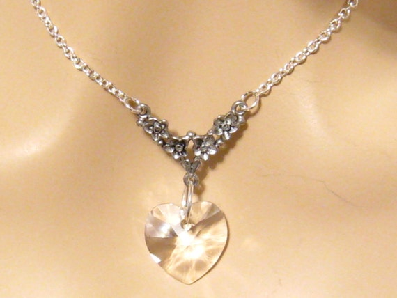 9339bf668649 Clear Swarovski Crystal Heart Necklace Victorian Bridal