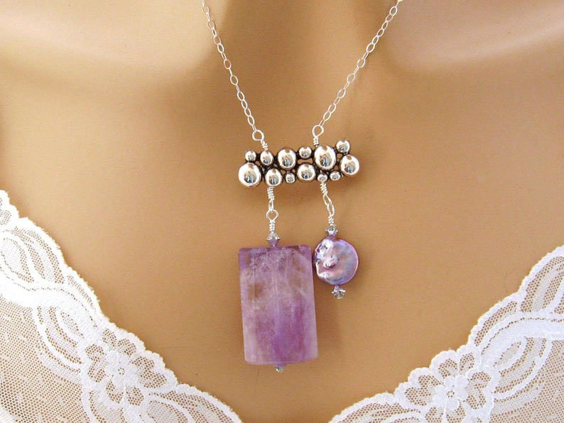 6th Anniversary Gift for Wife Healing Crystal Necklace Natural Amethyst Necklace with Agate Bead Pendant and Handmade Purple Tassel