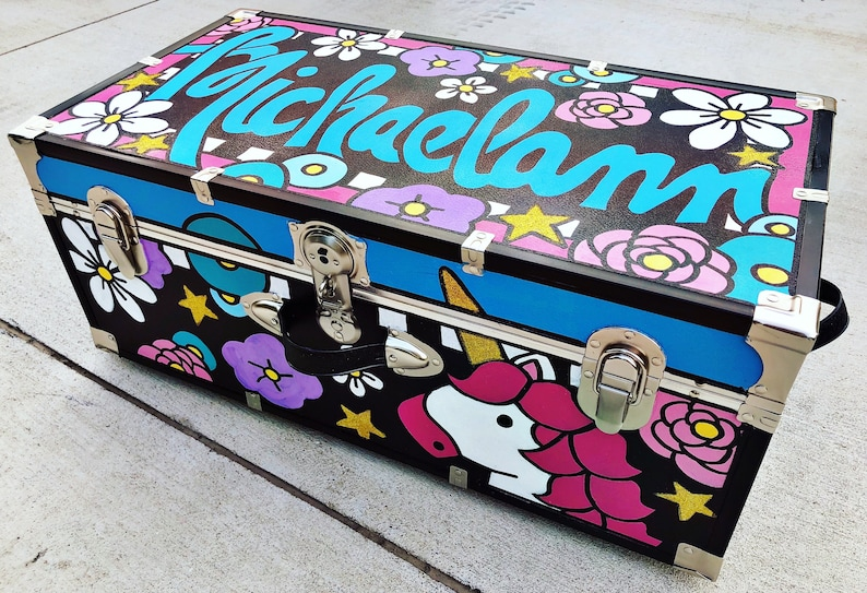 a1d4a02ccdd47 Handpainted Custom Camp Trunk | Etsy