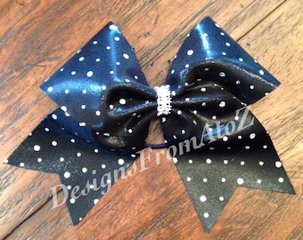 Black with Silver Dot Mystique Cheer Bow