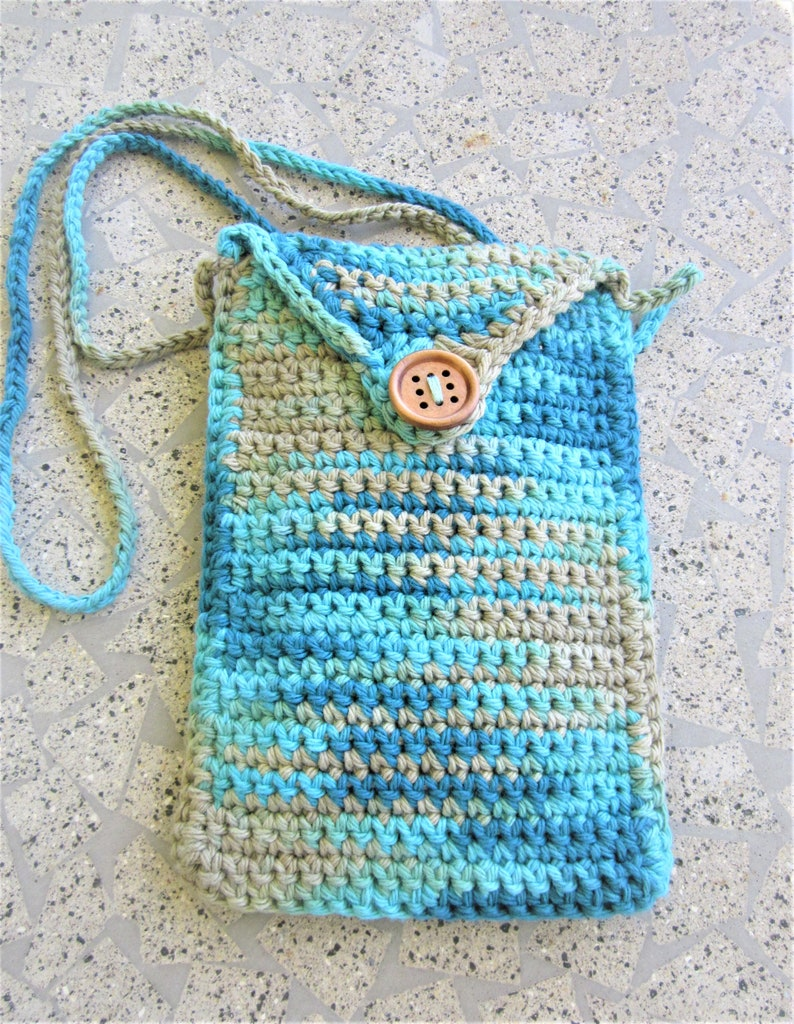 Handmade Malibu beach,teal blue green,tan smart phone holder,cell phone pouch,cross body pouch,rustic,multicolor crochet festival purse