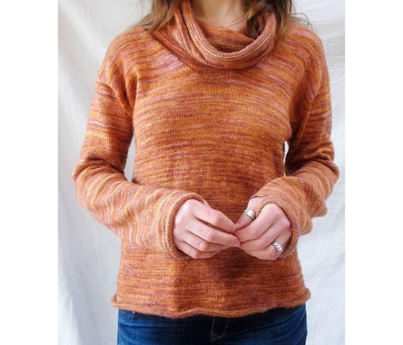 Sunset Cowl Neck Sweater Knitting Pattern Etsy