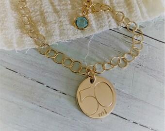 Gold Fifty Mile/KM Charm Bracelet