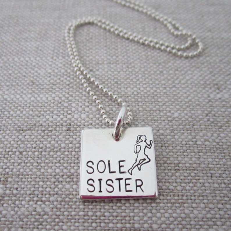 Sole Sister Hand Stamped Running Necklace  Sterling Silver  image 0