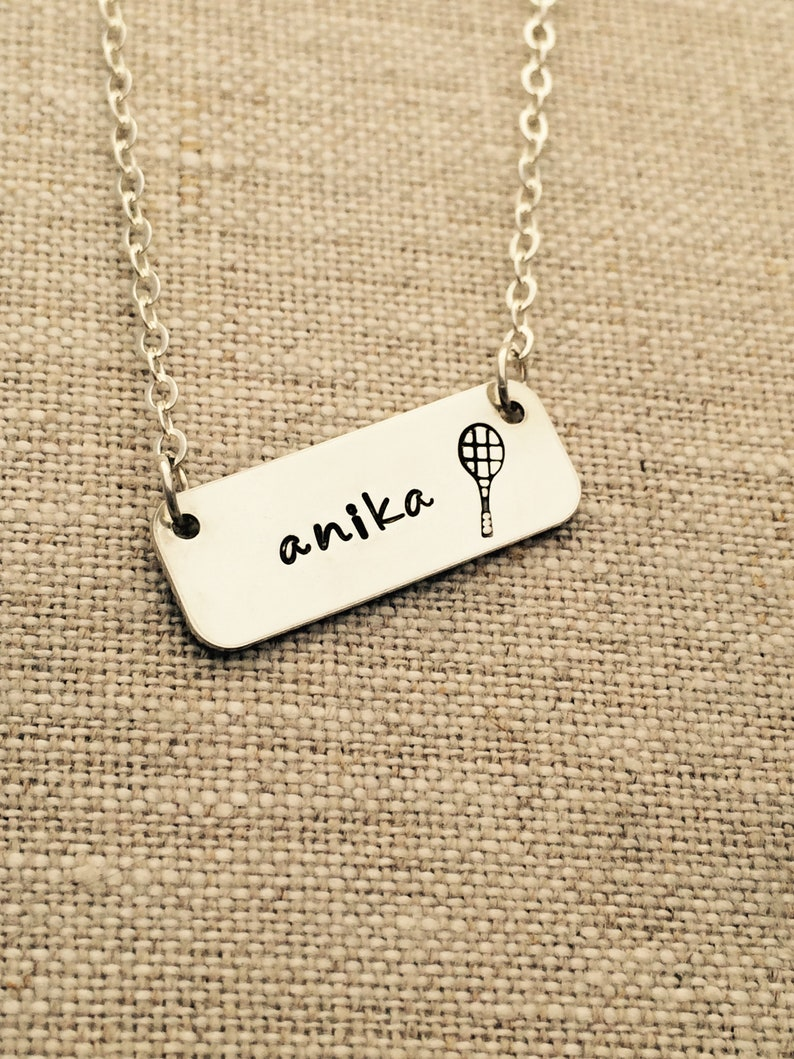 Tennis Sports Necklace  Sterling Silver Name Necklace  image 0