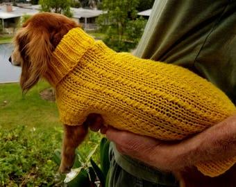 PDF Download for Lena's Twisty Columns Miniature Dachshund Knit Sweater Pattern