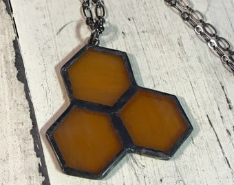 Artistic Icing Stained Glass Honeycomb cluster Necklace