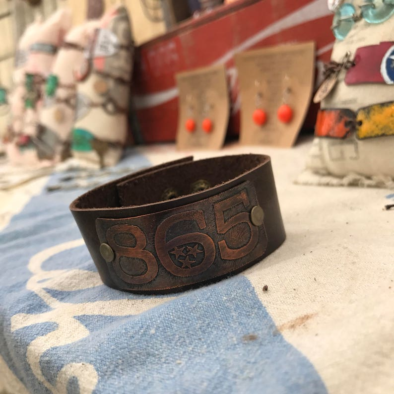 865 Knoxville area code tristar copper Tennessee state shaped leather cuff