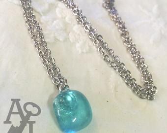 Vintage Aqua Ball Mason Jar Glass Petite pendant Necklace