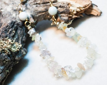 Mixed Gemstone and Amazonite Necklace on Brass Chain Simple and Sparkly Art Jewelry for the Eclectic Soul Pastel Gemstone Necklace