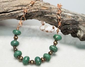 """Green Artisan Lampwork Necklace on Copper Art Chain metallic Brown Freshwater Pearls- Series 6 """"Down to Earth"""" - Art Jewelry"""