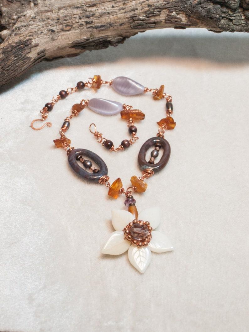 Amber Copper Flower Necklace Boho Necklace with Ocean Jasper image 0