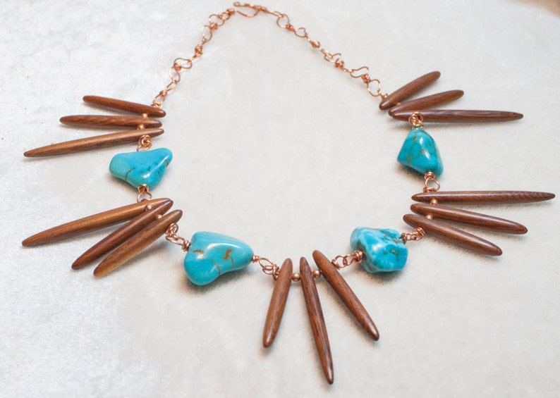 Turquoise Necklace with Wood Spikes on Copper Wire Boho Chic image 0