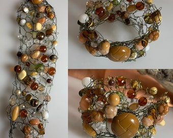 Wire Crochet Bracelet with Czech Glass Beads and a Vintage Button Closure