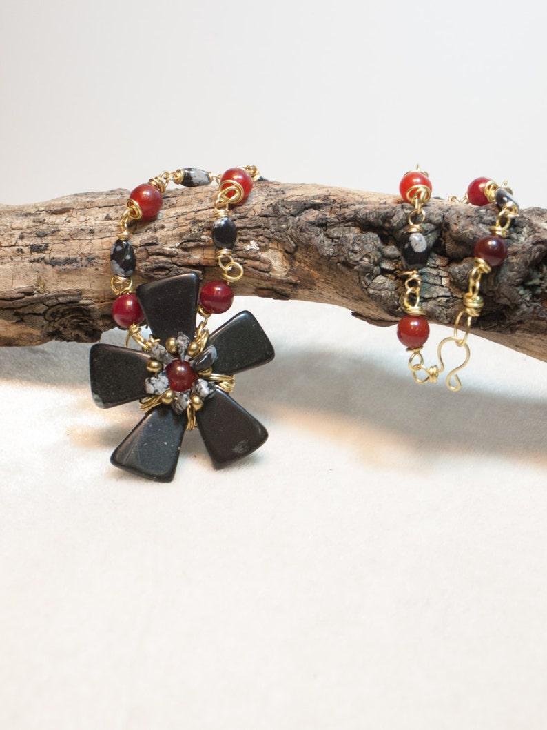 Red Jade and Snowflake Jasper Necklace with Wired Black Stone image 0