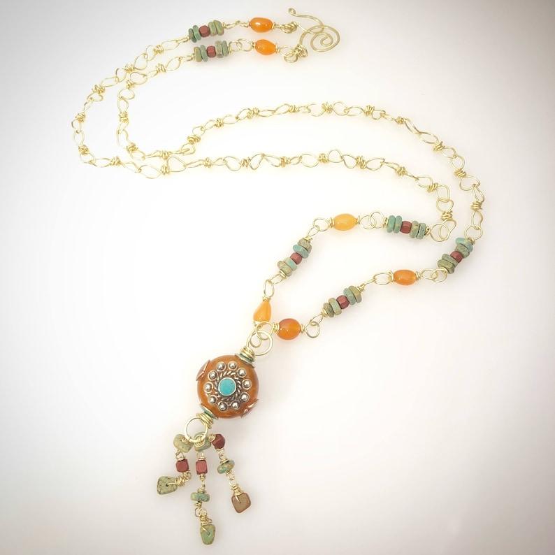 Boho Chic Tibetan Bead and Orange Agate Long Brass Necklace image 0