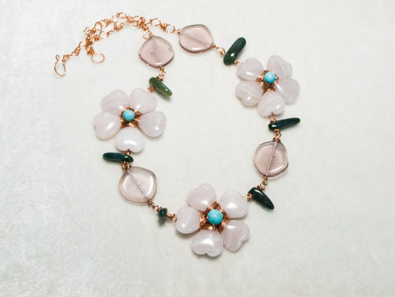 Purple Glass Flower Necklace with Turquoise center on Copper image 0