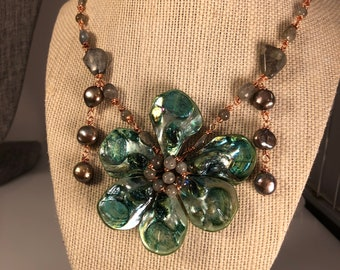 BIg and Bold Green Shell Flower Pendant Necklace with Labradorite and brown pearls on Copper wire - Unique Art Jewelry for the bohemian soul